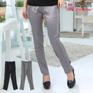 顯瘦--完美修飾光澤感車線鬆緊褲頭直筒長褲(黑.灰M-6L)-P66眼圈熊中大尺碼