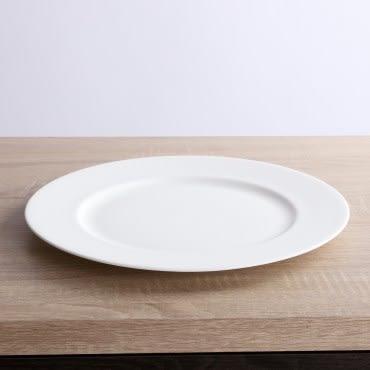 HOLA home 緻白骨瓷平口平盤12吋
