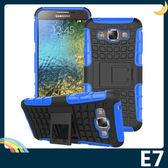三星 Galaxy E7 輪胎紋矽膠套 軟殼 全包款 帶支架 保護套 手機套 手機殼