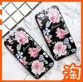 復古氣質花朵三星Galaxy J8 J4 J6 2018 Note9 Note 9手機殼保護殼套全包邊軟殼浮雕磨砂黑色