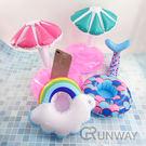 夏日 小傘 彩紅雲 美人魚 造型水上杯座 充氣杯架 手機座 玩具 拍照小物