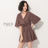 限量現貨◆PUFII-連身褲 V領後拉鏈連身短褲裙(附綁帶)- 0512 現+預 夏【CP18499】