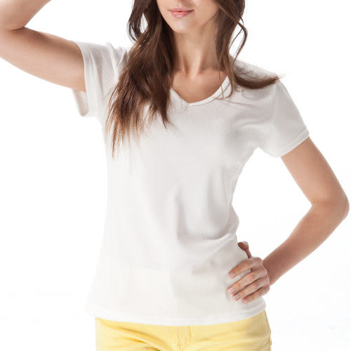 《MORINO》機能休閒抗UV速乾女短袖衫-白色