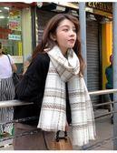 新款冬季韓版女針織加厚學生披肩百搭格子男圍脖秋冬兩用保暖圍巾 亞斯藍