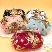 布藝玫瑰花 收納小包 零錢包 女士化妝袋 時尚手拿小包包【繁星小鎮】
