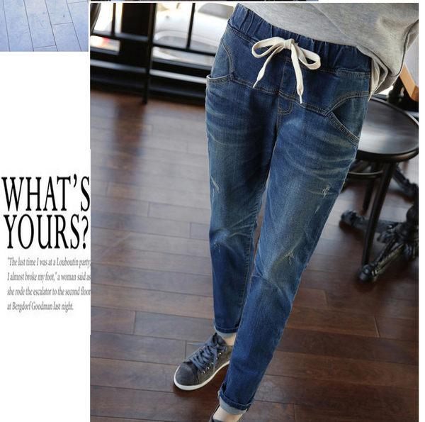 加大碼牛仔褲女裝長褲(深藍色)