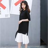 漂亮小媽咪 拼接撞色洋裝 【D1530】百褶 假兩件 雪紡 拼接 短袖 連身裙 孕婦裝 洋裝 []