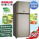 【SANLUX台灣三洋】250L雙門冰箱 銀灰色   SR-A250B