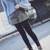 韓版鬆緊腰毛呢短褲女秋冬呢子闊腿短褲高腰顯瘦加厚寬鬆外穿靴褲