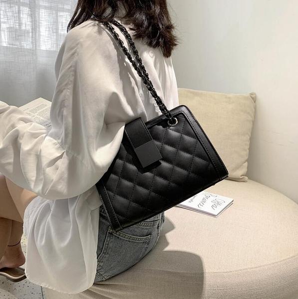 單肩包 高級感包包2020新款潮小ck單肩斜挎包時尚腋下包女菱格鏈條包