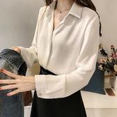 雪紡 職業白色襯衫女士設計感小眾秋季女上衣高級感長袖襯衣女抗皺雪紡-Milano米蘭