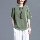 中大尺碼T恤 棉麻短袖T恤女夏文藝復古寬鬆大碼顯瘦純色休閒百搭亞麻襯衫上衣
