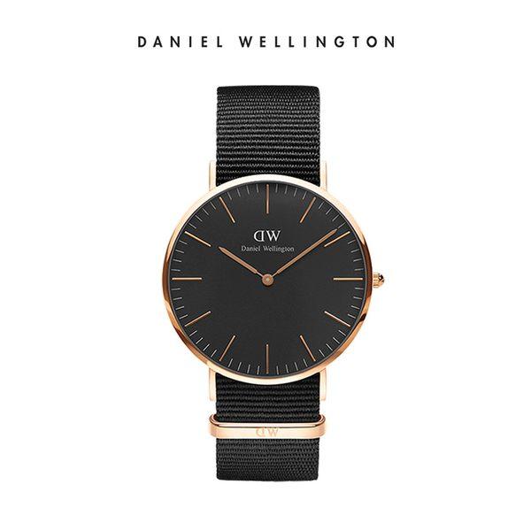 Daniel Wellington DW 手錶 40mm玫瑰金框 Classic Black 寂靜黑織紋手錶