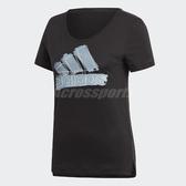 adidas 短袖T恤 Badge Of Sport Tee 女款 黑 藍 修身版型 【PUMP306】 DX2539