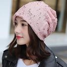 限時特銷 帽子女韓版春秋包頭帽時尚頭巾帽雙層月子帽鏤空套頭帽堆堆帽子