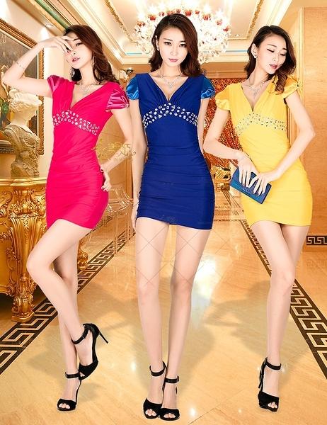 衣美姬♥夜店V領 黏鑽閃亮 連身洋裝 袖子蝴蝶結造型設計 酒吧公關小姐必備