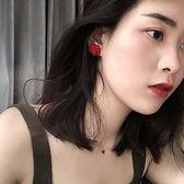紅色耳釘女氣質紅韓國個性冷淡風復古