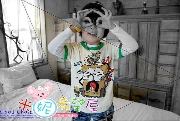 韓版潮寶CRYING BREAD(哭泣麵包)白綠色短袖棉T