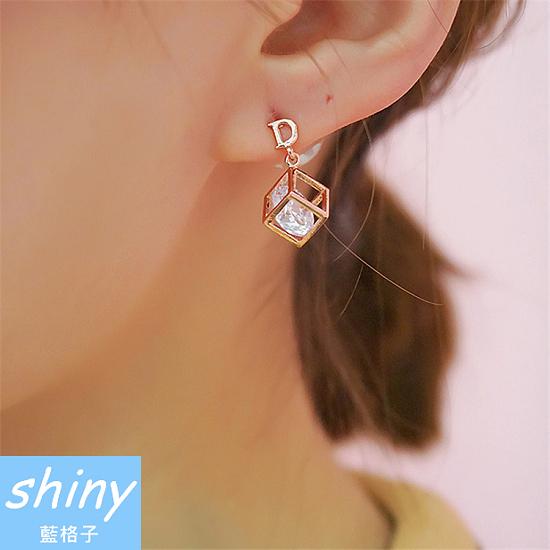 【DJA4109】shiny藍格子-閃鋯石幾何體百變魔方耳環