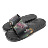 Nike 涼拖鞋 Benassi JDI Print 黑 印花 男女款 Just Do It 【PUMP306】 631261-023