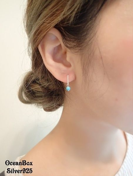 ☆§海洋盒子§☆拉式~異國藍土耳其圓珠垂墜耳環 《925純銀耳環》