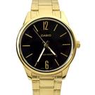 CASIO手錶 極簡數字黑面金色鋼錶NECE15