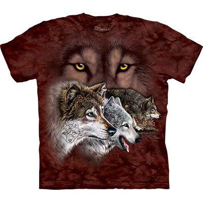 【摩達客】 (預購) 美國進口【The Mountain】自然純棉系列 尋九狼群 T恤(10412045174a)