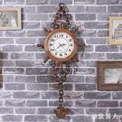 北歐復古鐘表手表式掛鐘客廳家用時尚臥室簡約純實木個性時鐘創意 LJ8855【極致男人】