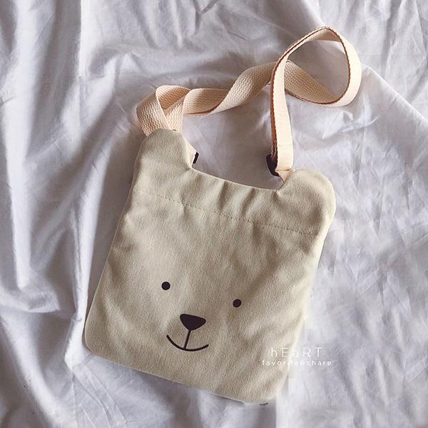 可愛小熊兒童側背帆布包 包包 帆布包 側背包 兒童背包