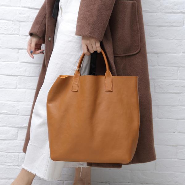 【Solomon 原創設計皮件】簡約素色手提包 托特包 全真皮購物提袋 單肩包 附可拆式收納隔層