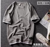 夏季港風潮牌寬鬆純棉短袖t恤男裝半袖打底衫情侶體恤假兩件上衣
