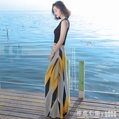高腰半身裙法式仙女森系顯瘦氣質洋裝雪紡長裙海邊度假沙灘裙夏 怦然新品