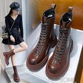 中筒馬丁靴女英倫風2020年新款秋冬季潮ins網紅百搭瘦瘦短靴棉鞋 3C優購
