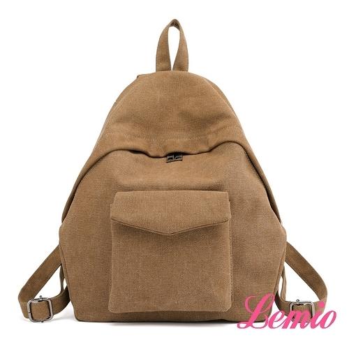 【Lemio】韓流時尚水滴雙肩帆布包(卡其棕)