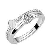 韓版心形銀戒指 女款 開口結婚婚慶時尚鑲鋯石鑽戒《小師妹》ps477