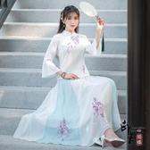 民國風復古女裝 中國風喇叭袖上衣裙子 刺繡茶服兩件套唐裝改良式旗袍 萬聖節鉅惠