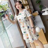 大尺碼洋裝 韓版雪紡短袖荷葉邊背後綁帶連身裙 L-5XL #cd0281 ❤卡樂❤