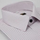 【金‧安德森】粉紫條紋黑釦窄版短袖襯衫