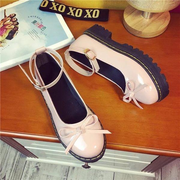 娃娃鞋女 百搭女平底單鞋18日系軟妹洛麗塔lolita鬆糕厚底小皮鞋娃娃鞋圓頭 俏女孩