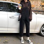 ins超火的吊帶褲女韓版寬鬆褲子春新款黑色牛仔褲網紅老爹褲 韓國時尚週