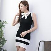 氣質彈力針織大領結洋裝 [黑 白] 兩色售 [RBNO07008]