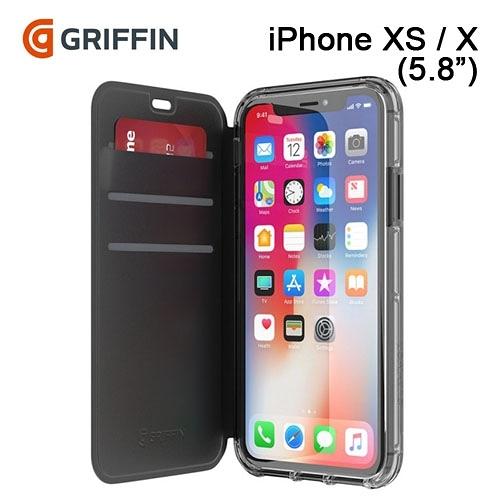 ★適用5.8吋★ Griffin Survivor Clear Wallet iPhone XS / X 側翻皮夾式透黑背板皮套 (黑色/透黑)