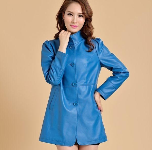 卡樂store…小中大尺碼韓版修身顯瘦女皮衣 水洗PU皮風衣 S-3XL 4色 #ab1408