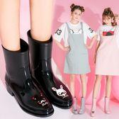 時尚手繪雨鞋女成人韓國中筒女士水鞋可愛雨靴防滑水靴【販衣小築】