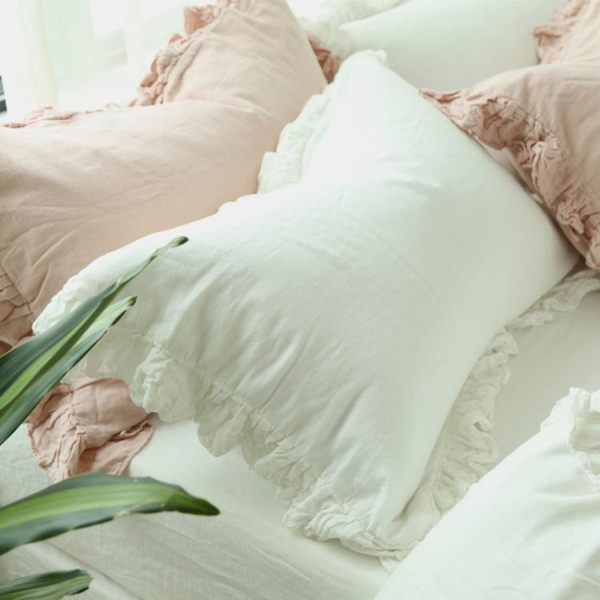 韓版全棉紗布荷葉花邊公主純色枕頭套LVV3665【KIKIKOKO】