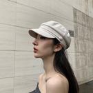 帽子女韓版網紅同款棉麻平頂海軍帽百搭英倫複古八角帽時尚貝雷帽