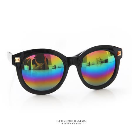 太陽眼鏡 韓系粗框復古圓形方鉚釘墨鏡 中性設計男女都適合 柒彩年代【NY297】抗UV400