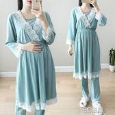 春夏月子服薄款哺乳睡衣產後寬鬆大碼孕婦睡裙喂奶家居服套裝 3C優購