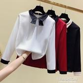 2020春裝新款法式白襯衫女設計感小眾雪紡衫高檔洋氣絲光緞面襯衣【快速出貨】
