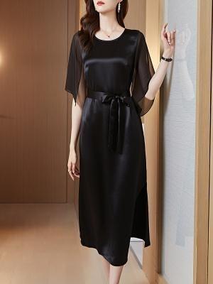 洋裝`醋酸緞面連身裙夏款女裝年新款名媛高端氣質黑色晚禮服長裙子H456-C胖妞衣櫥